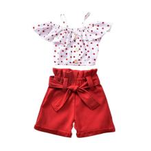 New Baby Kids Girls Toddler Red Polka Dot Off Shoulder Top +Red Shorts Outfits girls off shoulder flounce sleeve striped top