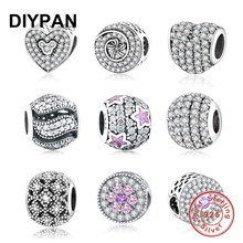 Fit Original Pandora Charms Bracelets 925 Sterling Silver Pave Zircon Star Charms Beads For Jewelry Making Women Berloque