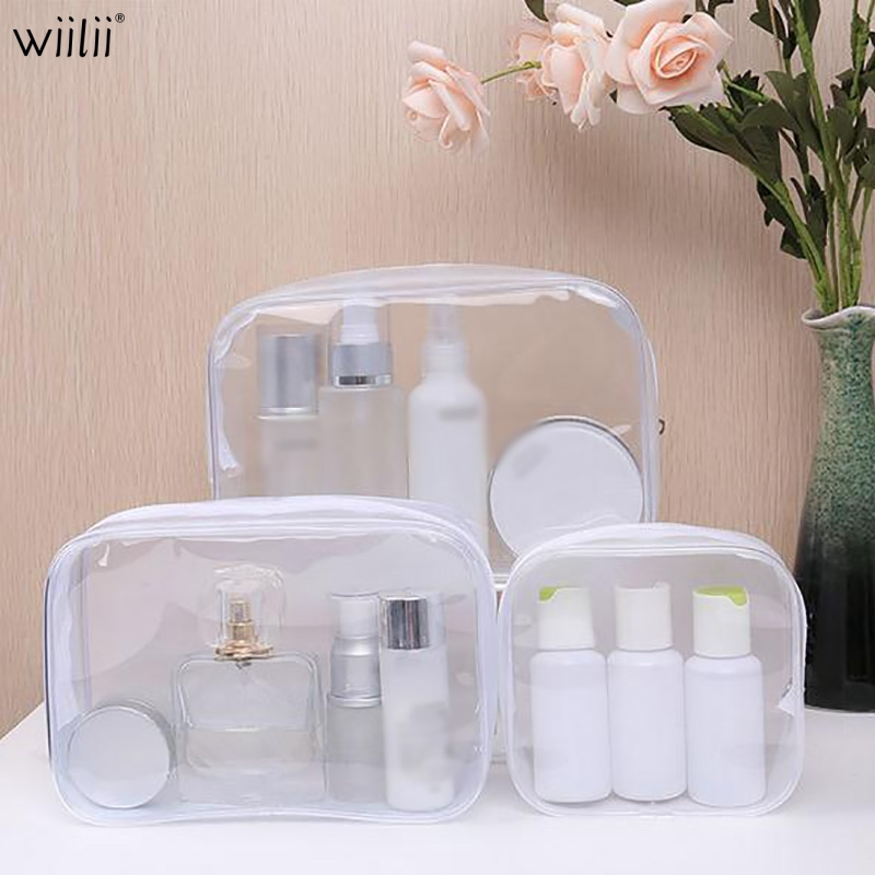 Clear PVC Storage Bag Carry Pouch Zipper Bags For Makeup Wash Bag Toiletry Organizer For Cosmetic Towel Waterproof Storage