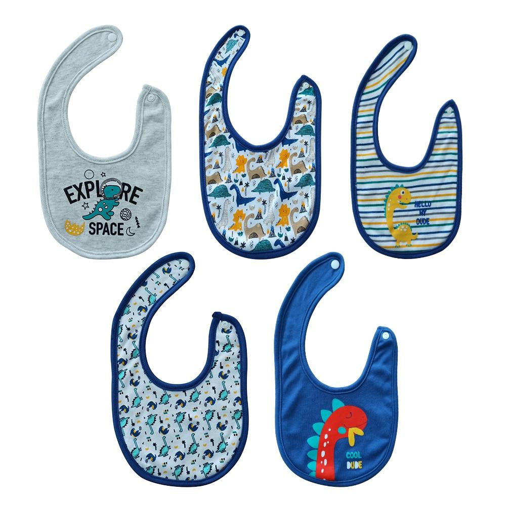 Cotton 3/5PCS Baby Boy Girl Bib 0-12M Cartoon Baby Babador Infant Baby Accessories Roupas de bebe