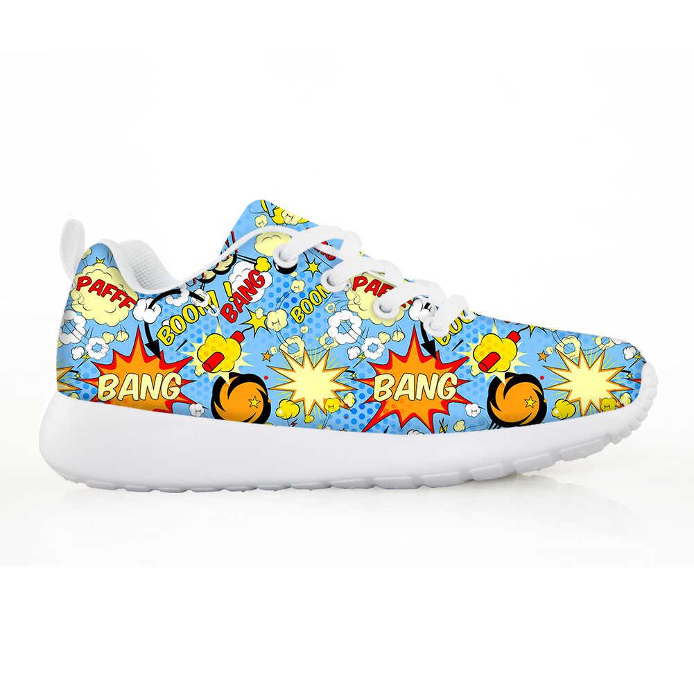 NOISYDESIGNS אביב ילדים לנשימה חיצוני נעלי ריצה קל משקל ילדים סניקרס פופ אמנות הדפסת Tenis עבור בני בנות
