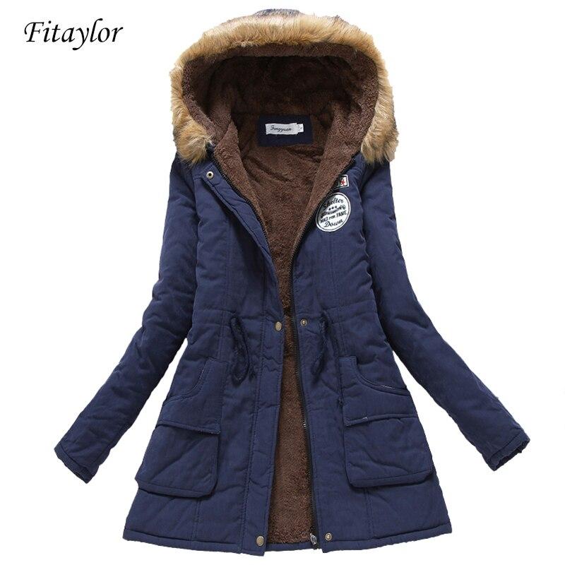 Nouveau hiver militaire manteaux femmes coton ouatine à capuche veste moyenne décontracté longue casual parka épaisseur grande taille XXXL couette neige outwear