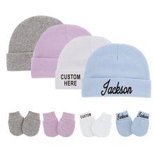 Chapéu & luvas do bebê recém-nascido personalizado para 0-3m bebê algodão chapéus anti-risco luvas nome feito sob encomenda unisex bebê chapéu e luvas conjunto