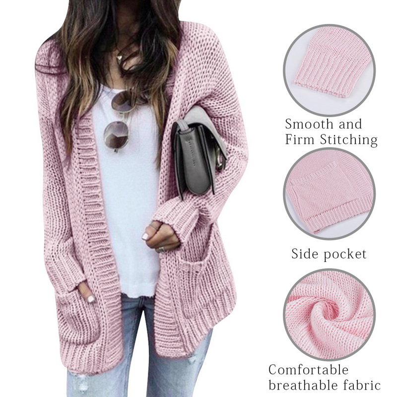 US $10.26 49% OFF Autumn Winter Batwing long Sleeve Knitwears Cardigan Women Smooth Knitted Sweater Pocket design Cardigan Female Jumper Coat