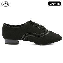 Erkekler için standart dans ayakkabıları BD309 balo salonu ayakkabı tuval Napped bölünmüş taban uygulama yarışması erkekler Modern dans ayakkabısı Dancesport