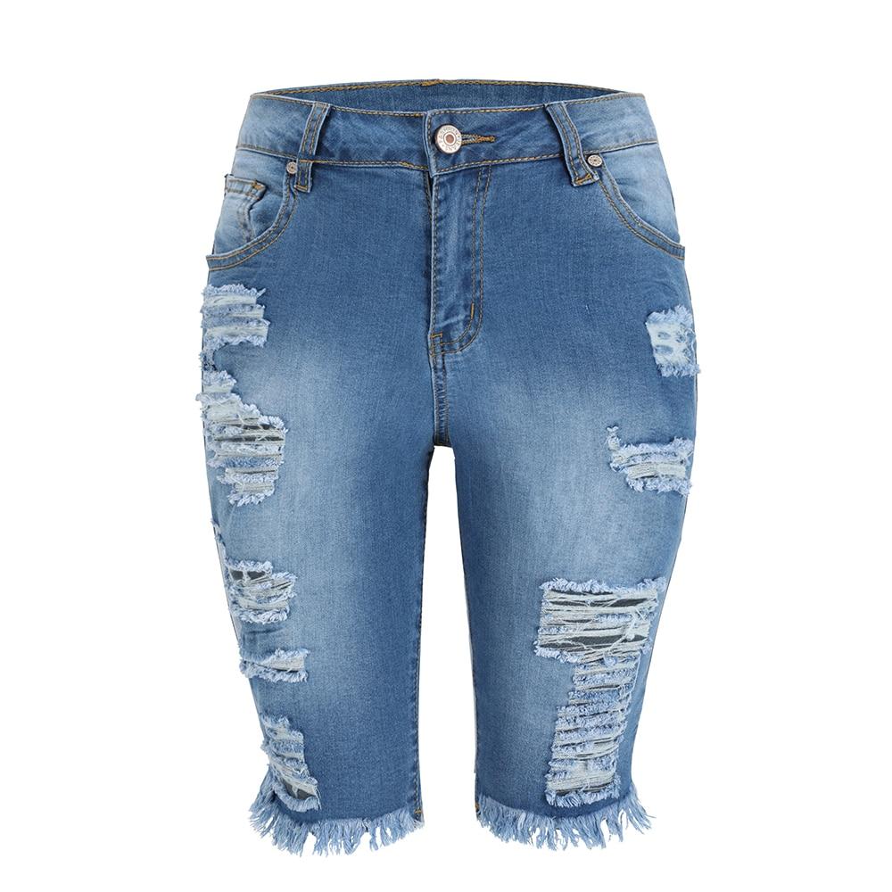 Summer Bermuda Shorts Women Ripped Cotton Knee Length Mid Rise Casual Denim Shorts Ladies Blue Sexy Skinny  Jean Shorts