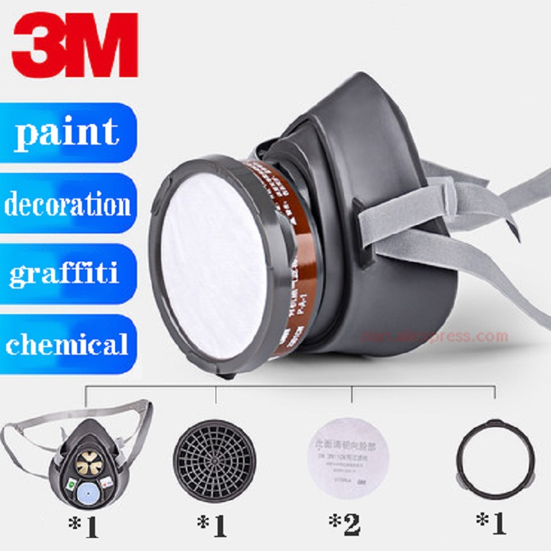 3M 3200 Industrial Respirator Gas Mask For Spray Paint Chemical Formaldehyde Activated Carbon Filter Dust Proof Half Face Mask