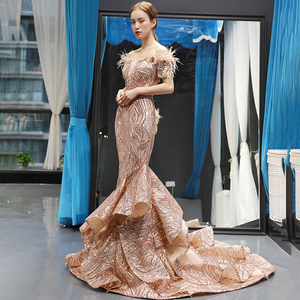 Image 4 - J66749 Jancember Mermaid Evening Dresses 2020 Off The Shoulder Short Sleeve Lace Wedding Guests Gowns
