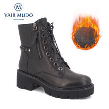 VAIR MUDO 2019 New Spring Autumn Winter Ankle Boots Women Genuine Leather Warm Snow Lady DX29