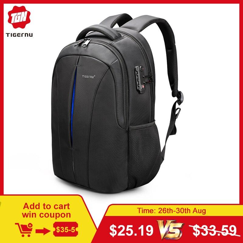 Tigernu résistant aux éclaboussures 15.6 pouces sac à dos pour ordinateur portable sans clé TSA Anti-vol hommes sac à dos voyage adolescent sac à dos sac à dos homme mochila