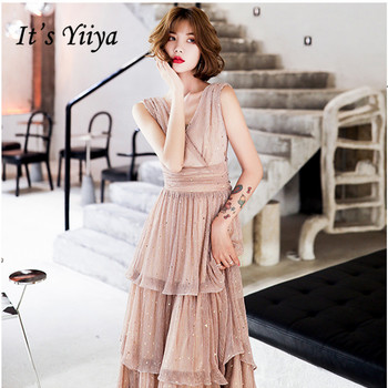 It's Yiiya Evening Gowns For Women Formal Party V-Neck Tiered Tea-Length Robe De Soiree LF217 Sequined Evening Dress 2020