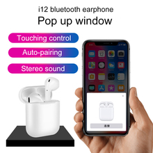 i12 TWS Pop Up Wireless Bluetooth Earphones 5.0 Touch Control True Earbuds with Microphone Charging Box Original 2019