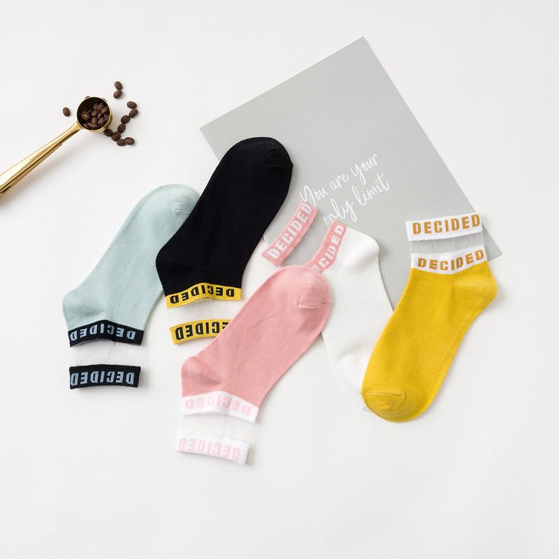1 Pair Women Socks Cotton Summer New Colorful Letter Ankle Socks Splice Thin Socks Solid Cute Socks