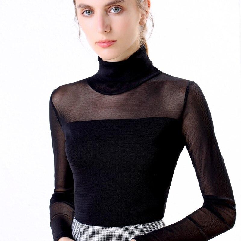 Size M-3XL Women Turtleneck Slim Full Sleeve T-Shirts Girls Black And White Solid Mesh Elegant Elastic Tops Tshirt For Women