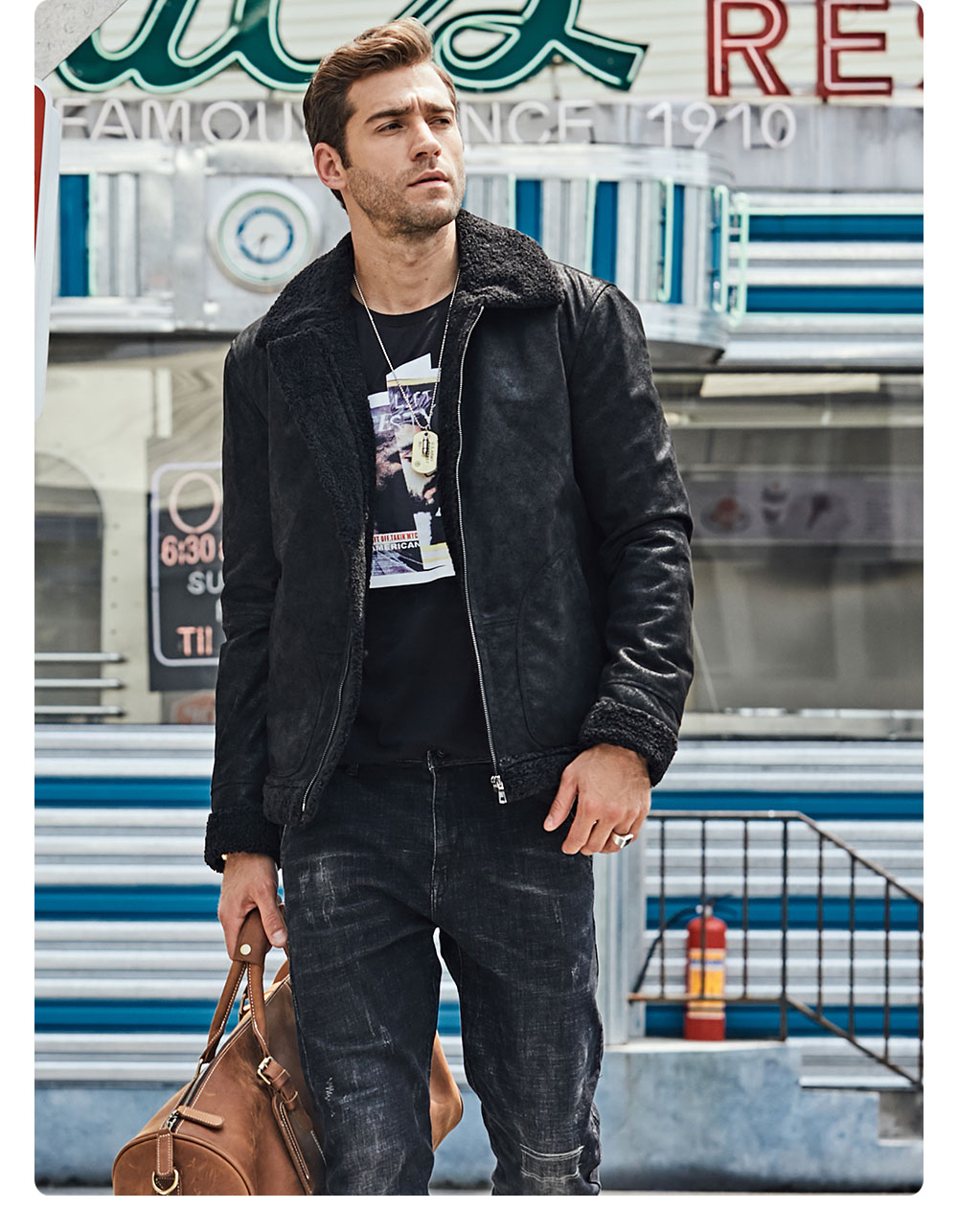 Hf9990290542e4a2ba6ae713255a738bfC New Men's Real Leather Jacket Faux Fur Collar Genuine Leather Jacket