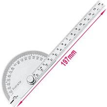 Regla de ángulo de transportador semicircular de 180 grados, separador de 0 a 145mm, indicador de acero inoxidable, madera