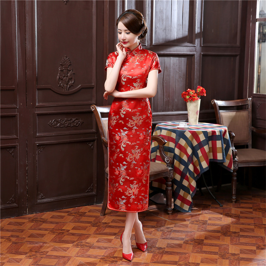 17Color Women Chinese Wedding Dress Cheongsam Traditional Satin Silk Red Print New Year Retro Prom Party Long Qipao S-6XL