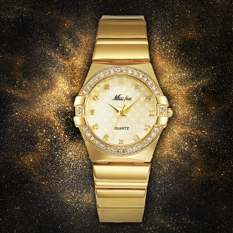 MISSFOX Fashion <font><b>Watches</b></font> Women Fashion Luxury <font><b>Watch</b></font> Ladies Gold Wrist <font><b>Watch</b></font> 2017 Famous Brand Logo Pearl Shell Five Star <font><b>Bu</b></font> Clock image