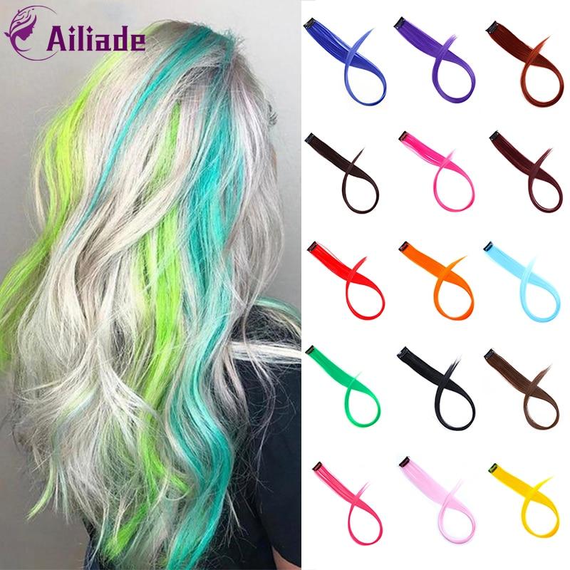 AILIADE Straight Long Color Hair Piece Hair Extensions Clip In Highlight Rainbow Hair Streak Synthetic Hair Strands On Clips