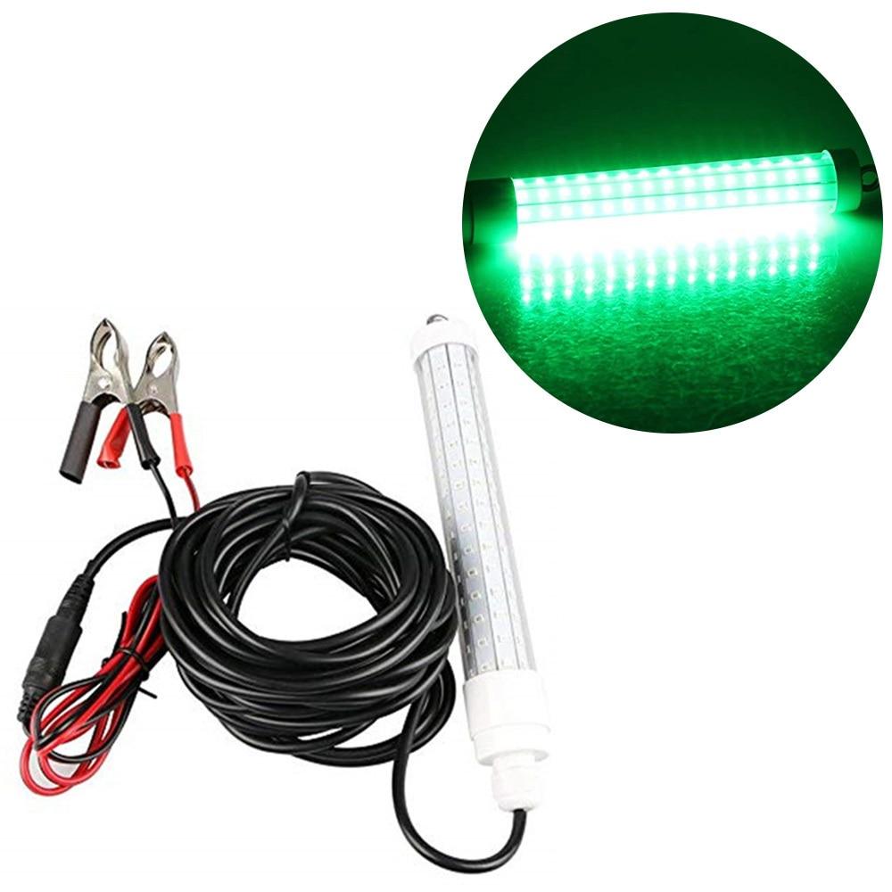 120 LED Lure Bait Underwater Light Night Fishing Finder Lamp Deep Drop Underwater Light 10W AC/CD 12-24V IP68 Waterproof Light