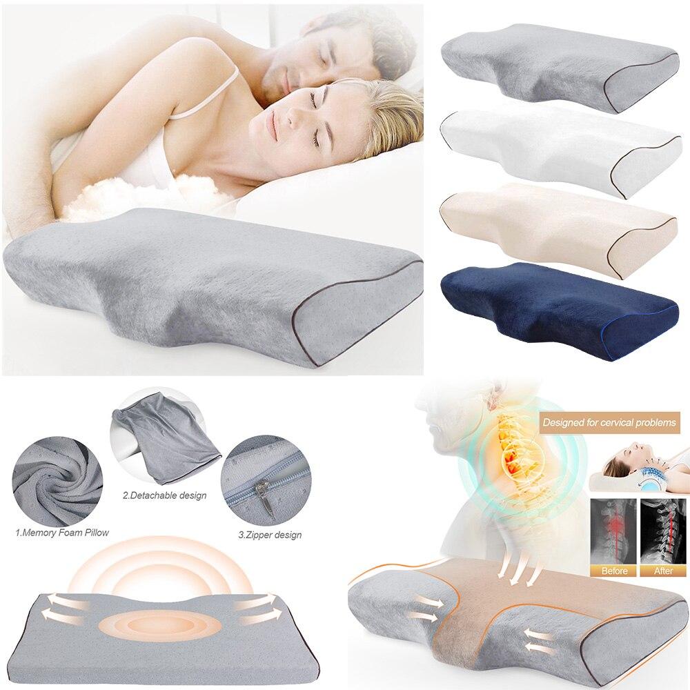Ev ve Bahçe'ten Vücut Yastıkları'de Bellek köpük yatak yastık kelebek şekilli rahatlatmak boyun koruma ortopedik yavaş ribaund servikal sağlık için 50x30cm title=