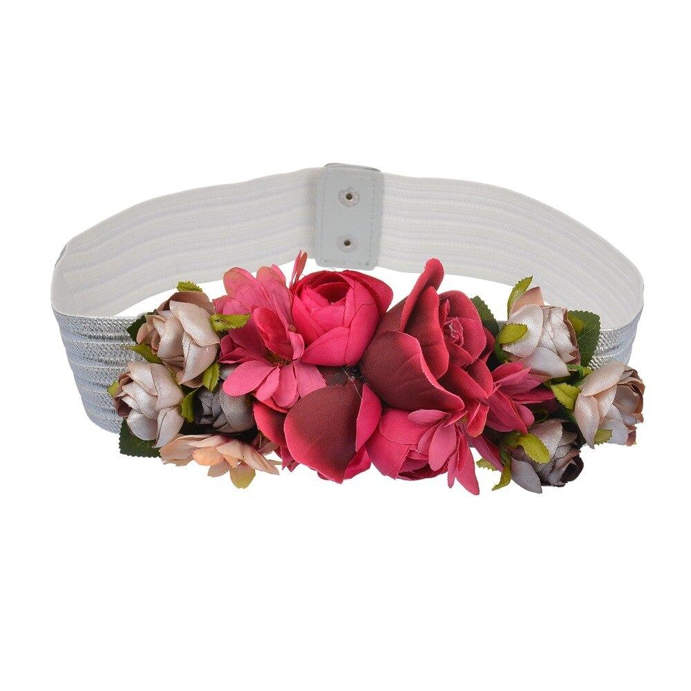 Fashion Women Elastic Wide Corset Belt For Women Glass Crystal Ceinture Ladies Thin Flower Inlaid Belt Waist Girdle BW39