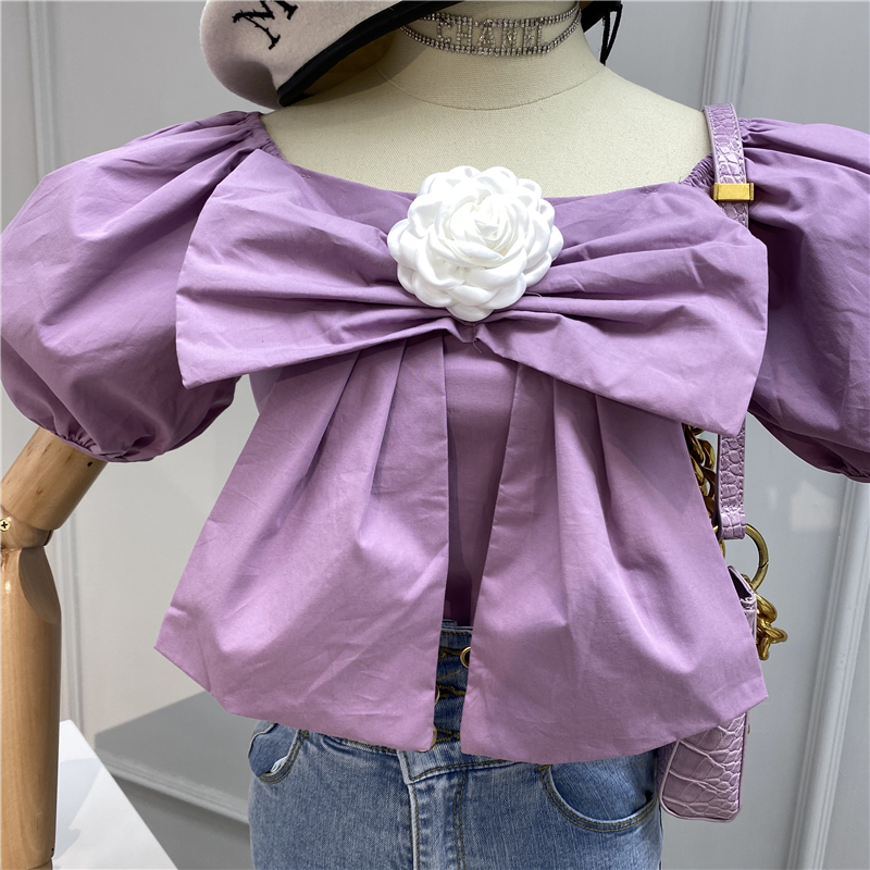 Women's Blouse Sweet Flower Three-dimensional Bow Puff Sleeve Shirt Women's Summer Square Collar Short Sleeve Top Blusas Mujer