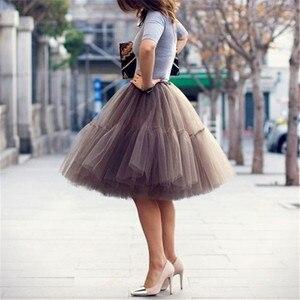 Image 1 - Petticoat 5 kat 60cm Tutu tül etek Vintage Midi pilili etekler bayan Lolita nedime düğün faldas Mujer saias jupe