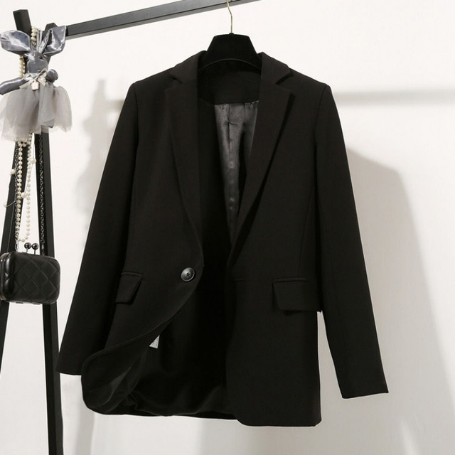2021 Free Shipping Autumn Winter New Casual Blazer Coat Women Medium Long Slim Fashionable Versatile Business Suit Black Coats 4