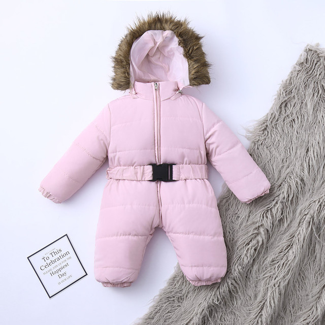 Winter Infant Baby Romper Boys Girls Jacket Hooded Jumpsuit Warm Thick Long Sleeve Zipper Coat Outfit Baby Boy Clothes Newborn 4