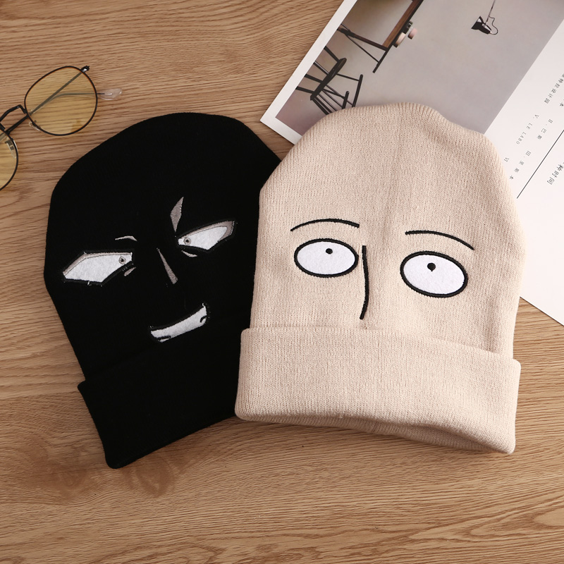 Hat One-Punch Cosplay Anime Funny Japan Cartoon Winter Cute Man Saitama Unisex Wool-Cap