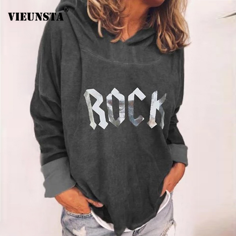 VIEUNSTA 4XL Women Hoodies And Sweatshirts 2019 Casual Letter Print Long Sleeve Hoodie Plus Size Warm Autumn Winter Pullover Top