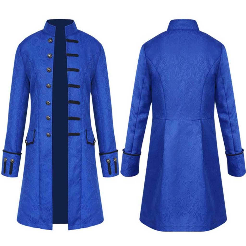 Hf999a7d72da0400d85718383114abd227 Men Trench Coat Steampunk Jacket Medieval Costume Men Long Sleeve Gothic Brocade Jacket Frock Vintage Stand Collar Men's Coat
