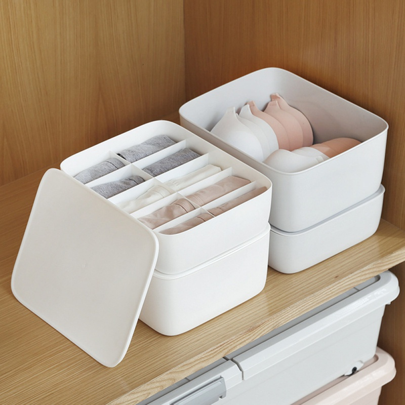Nova caixa de armazenamento de detritos domésticos grade de plástico simples roupa interior armazenamento organizar caixa com nenhuma cobertura meias roupa interior organizador novo