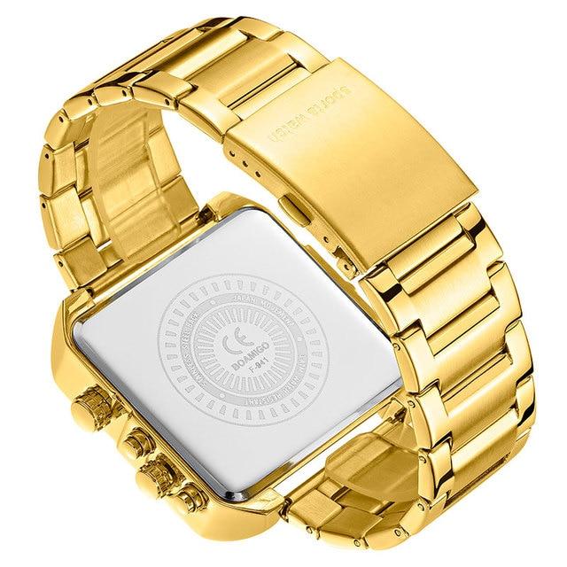 BOAMIGO 2021 New Top Brand Luxury Fashion Men Watches Gold Stainless Steel Sport Square Digital Analog Big Quartz Watch for Men