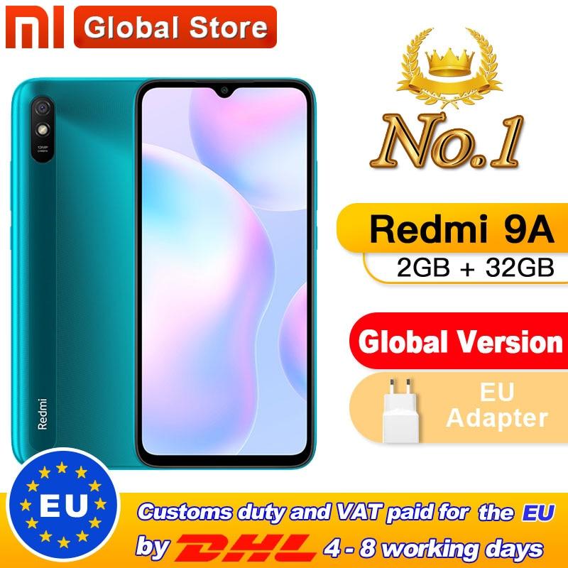 """Global Version Xiaomi Redmi 9A Mobile Phone 2GB 32GB ROM MTK Helio G25 Octa Core 6.53"""" 5000mAh 13MP Camera Smartphone(China)"""