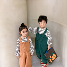 Trousers Overalls Suspender Girls Casual And Spring Unisex Cotton Loose Boys Solid Korean-Style