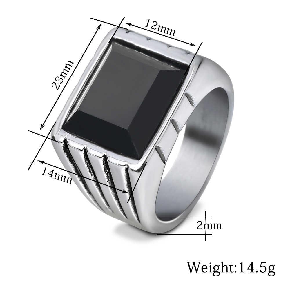 ขายร้อนสีดำหรือสีแดงคริสตัลหินผู้ชายงานแต่งงานแหวนเงินสแตนเลส Punk Style แหวนสำหรับชายเครื่องประดับ