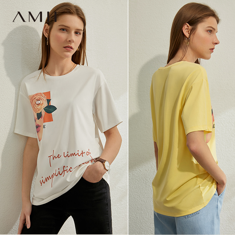 AMII Minimalism Spring Summer Causal Floral Print Loose Women Tshirt Cotton Oneck Fashion Female Tshirt Tops 12040295