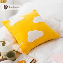 Liv-Esthete Cute Cloud Yellow Cushion Covers Embroidery Decorative Square Pillow Cover For Sofa Bed Car Home 45x45cm home decorative embroidered cushion cover black white canvas cotton square embroidery pillow cover 45x45cm for sofa living room