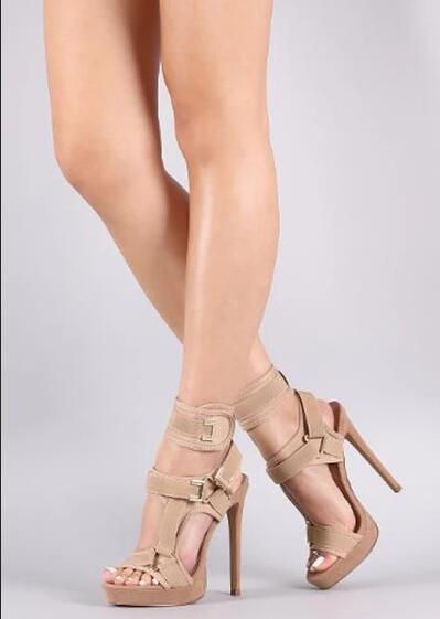 Sandales à plate forme à la mode bout ouvert découpé chaussures à talons hauts crochet et boucle bride à la cheville Sexy chaussures à talons aiguilles boucle décor sandales - 6