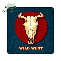 EARLFAMILY 13cm x 13cm for Cow Skull Wild West Fine Car SUV Sticker Fashion Decal Anime Waterproof Repair Sticker DIY Decoration