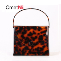 New Fashion Brand Leopard Acrylic Bag Women Classic Tortoise Print Handbags Party Prom Evening Bags Clutches Ladies Wallet