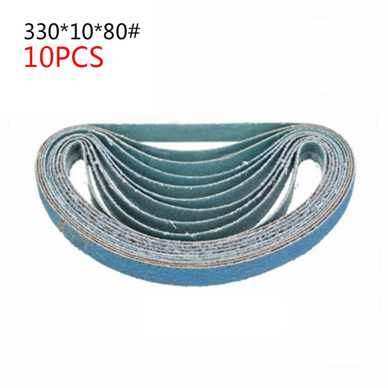 10 X Mixed Power Tool Sander Sanding Belt Belts 330 * 10mm <font><b>40</b></font> 60 80 <font><b>120</b></font> Grit image
