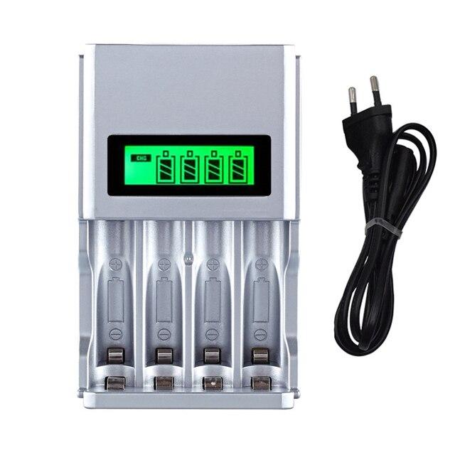 Carregador de pilhas inteligente, tela LCD, 4 espaços, para pilhas recarregáveis AA/AAA, NiCd NiMh, tomada UE #8175, de qualidade, imperdível