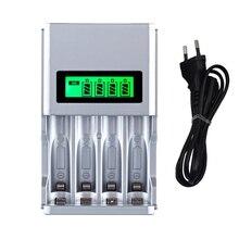 Горячее качество 4 слота ЖК-дисплей умное интеллектуальное зарядное устройство для AA / AAA NiCd NiMh перезаряжаемые батареи штепсельная вилка ЕС #...