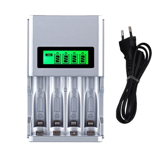 Hot quality 4 Slots LCD Display Smart Intelligent Battery Charger for AA / AAA NiCd NiMh Rechargeable Batteries EU Plug#8175