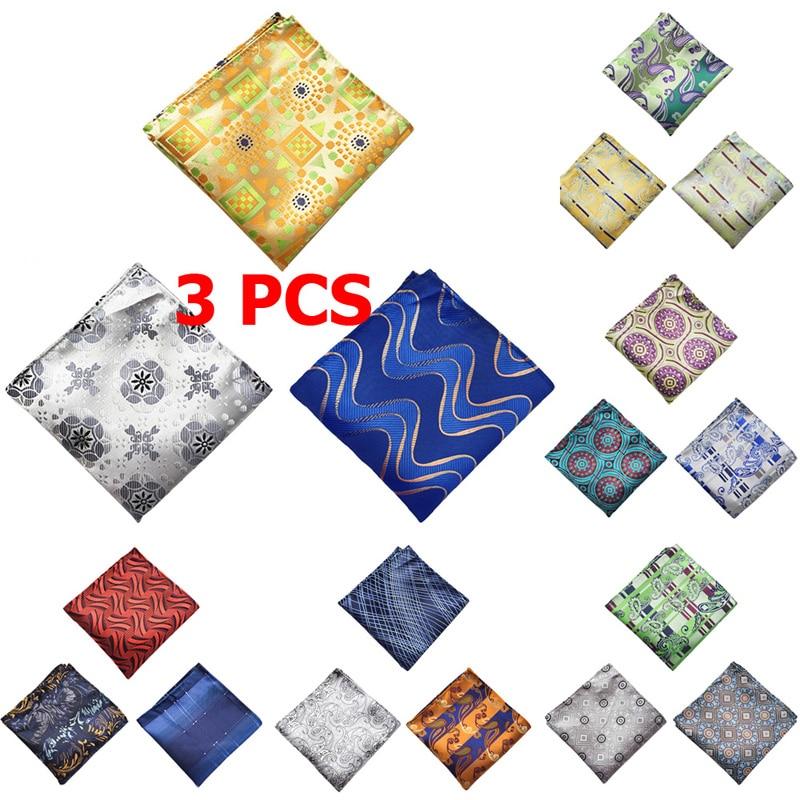 3 PCS Mens Paisley Flower Pocket Square Handkerchief Wedding Colorful Hanky