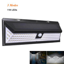 Солнечная лампа 118 светодиодный PIR датчик движения лампа на открытом воздухе IP65 водонепроницаемый Солнечный садовый светильник s аварийный светильник безопасности Солнечная настенная лампа