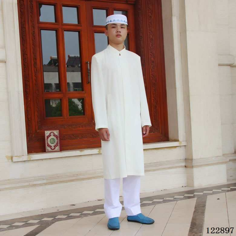 Woven Cotton Embroidered Stand Collar Thin Mid-length Cardigan Muslim Men'S Wear Robe Clothes For Worship Service/